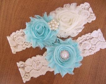 Aqua Garter Set, Ivory Lace Garter,Blue Garter Set,Ivory Wedding Garter, Bridal Garter,Lace Wedding Garter,Rustic Garter Set,Something Blue