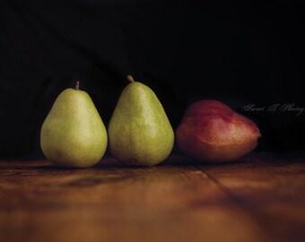 "Fine Art Photograph ""Pears "" Wall Art Print Rustic Kitchen Decor Photograph Green Red Black Burgandy Series Fruit Still Life Minimalist"