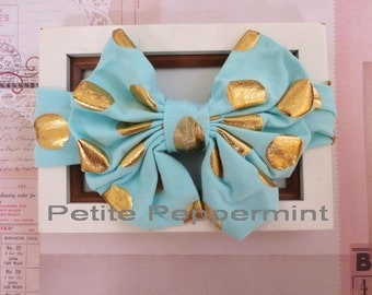 Aqua Baby Headband, Baby Head Wrap, Baby Hair Bow, Infant Headband, Baby Bow Headband, Baby Photo Prop, Bow Knot Headband