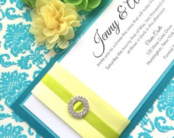 Double Circle Rhinestone Invitation, Teal, turquoise, yellow, lime green, modern,  wedding, Love, citrus, spring