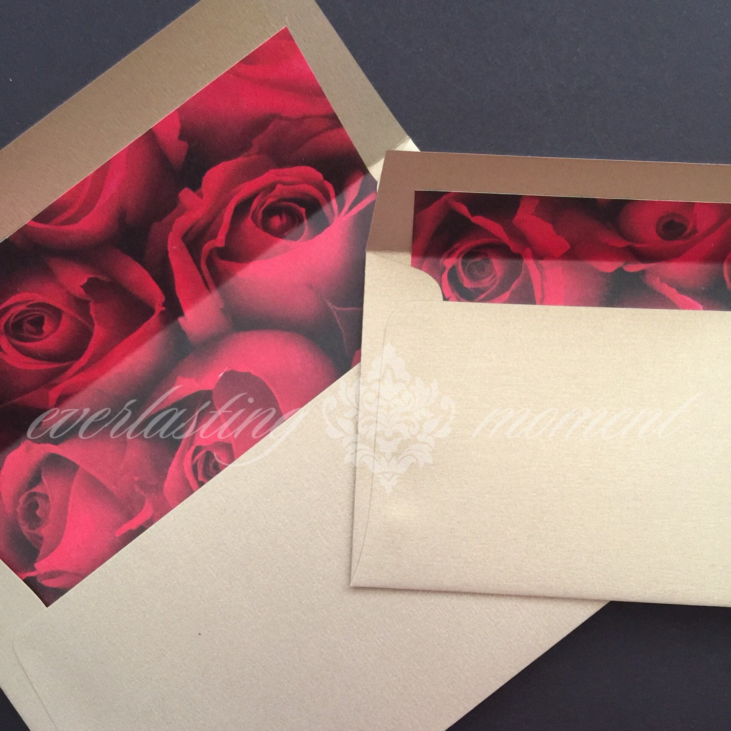 Lined Envelopes - Red Rose Print with Gold envelopes, wedding ...