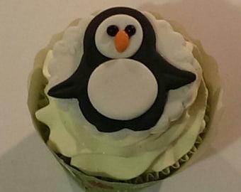Penguin Fondant Cupcake, Cake, Cookie Toppers. Set of 12 (1 Dozen)