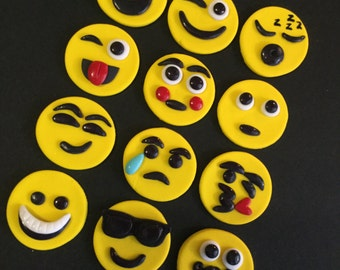 Fondant Emoji Cupcake, Cake, Cookie Toppers. Set includes 12 (1 dozen)