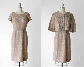 60 brown dress. lace. 1960's sheath dress. xl . cropped jacket. wiggle. 50's 60's beige dress. chantilly lace.