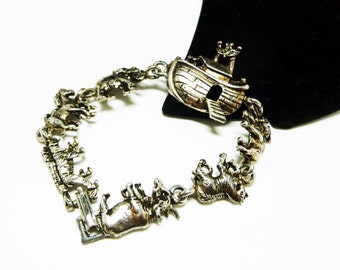 Noah's Ark Bracelet in Silvertone with Animals and Boat - Tigers, Horses, Elephants, Giraffes, Cows, Zebras and Yaks - Bracelet Links