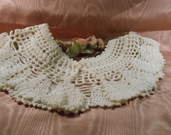 Vintage Lace Hand Crochet Lace Collar Craft Supply