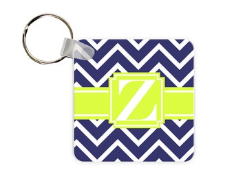 Chevron Personalized Square, Round or Rectangle Key Chain