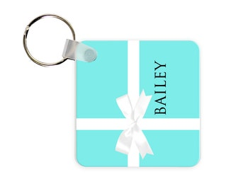 Gift Box Personalized Square, Round or Rectangle Key Chain