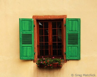 Fine Art Color Photography of Green Shutters and Flowers in Niedermorschwihr France