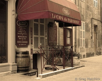 """Fine Art Sepia Travel Photography of French Wine Shop in Beaune France - """"Cave du Paradoxe"""""""