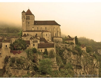 """Fine Art Sepia Photography of Medieval French Village - """"Fog Descending on St Cirq Lapopie"""""""