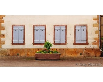 "Fine Art Color Travel Photography of France - ""Four Pale Blue Shutters in Alsace"""