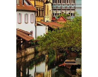 Fine Art Color Travel Photography of Canal View in Colmar France