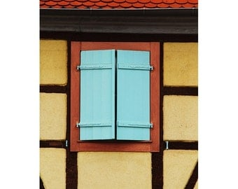 Fine Art Color Travel Photography of Blue Shutters in Colmar France