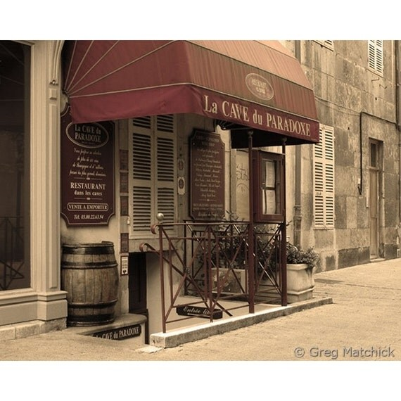 "Fine Art Sepia Travel Photography of French Wine Shop in Beaune France - ""Cave du Paradoxe"""