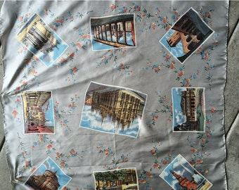 Vintage Souvenir Scarf  Scenes From Milano,Italy Sights to See In Milano Collectible Scarf Postcards from the Edge