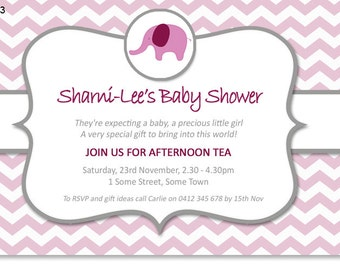 Pink elephant Chevron Baby Shower invitation