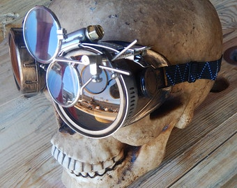 STEAMPUNK GOGGLES-Antique Brass Gold Distressed-Look Cyber Welders Goggles with Removeable Magnifying Eye Loupes