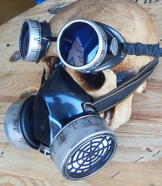 2 pc. set of Black & Silver/Pewter-Look Distressed  Steampunk Double Filter Respirator GAS MASK and Matching GOGGLES