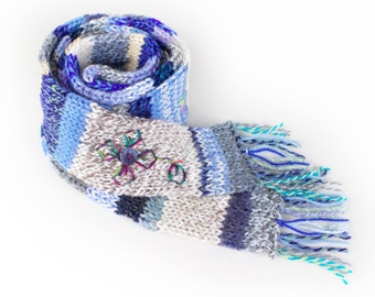 Winter Flower Eco Scarf - White and Blue Scarf made from upcycled leftover pieces of yarn - Eco friendly recycled scarf - Winter fashion