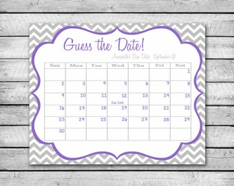 Guess the Date | Purple and Grey with Chevron | Baby Shower Game | Due Date Calendar | Digital File