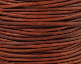 2mm Natural Red Brown Leather Cord, Distressed, Round, Genuine, Lead Free, Soft, 164 Feet, 1 Roll