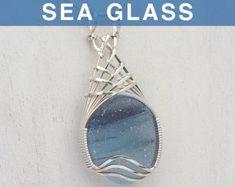 Ice Blue Multi English Sea Glass Pendant
