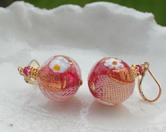 Rubino Millefiori  Earrings, Murano Glass Earrings