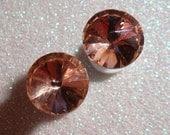ROSE PINK rhinestone ear plugs / rivoli dusky pink rose rhinestone gauges tunnels / 6-12mm