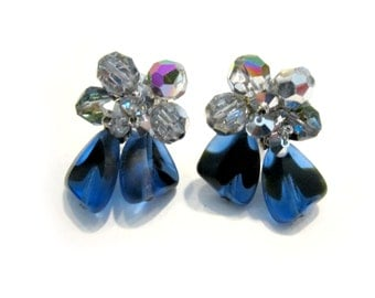 Vintage Vendome Earrings Clip Designer Signed Blue Black Striped Glass Crystals Silver Earrings Gift for Mom Gift for Her Wedding Jewelry