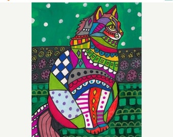 Marked Down 50% - CAT Folk art prints Poster of Painting Modern Abstract (Hg273)