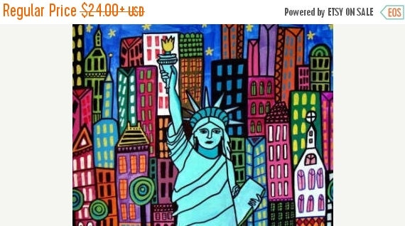 55% Off- Statue of Liberty Art New York City Art Poster Print of painting by Heather Galler of Painting (HG853)