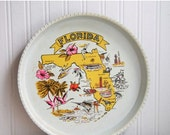 Kitsch Florida Souvenir Tray, Tropical Pink and Yellow Tray, Vintage Metal Florida Serving Tray, Palm Trees and Flamingos, Tropical Home
