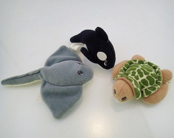 Galoob Pound Ocean Animals Puppies Lot of 3 Mini Plush Orca Killer Whale Sea Turtle Sting Ray Mini Tiny 90s