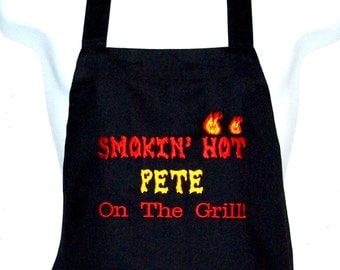 Smokin Hot Apron, Smoke Pit Cooker, Meat Smoker, Smoke Cooking, Personalized With Name, No Shipping Charge, Ready To Ship TODAY, AGFT 717