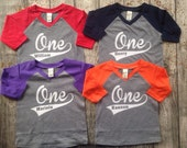 First Birthday Shirt Baseball Style Boys Long Sleeve Raglan Name and Number One Shirt First Birthday Shirt Custom Birthday