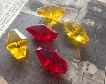 5 Rhombus CLEAR BUTTONS Czech glass - VINTAGE