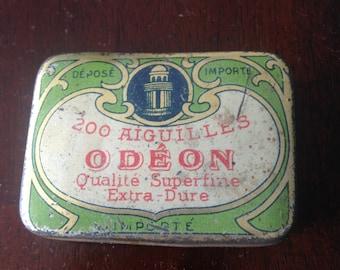 Antique Unique Gorgeous 1920s   ODEON tin metal box aiguilles odeon