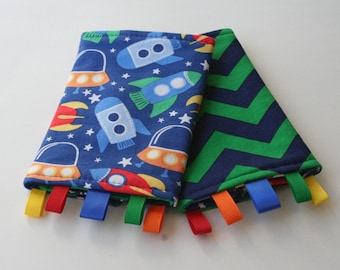 Reversible Baby Carrier Suck/Drool Pads - Rockin Rockets and Prepster Chevron (Fits Kinderpack, Ergo, Mei Tai, Tula, and other SSCs)