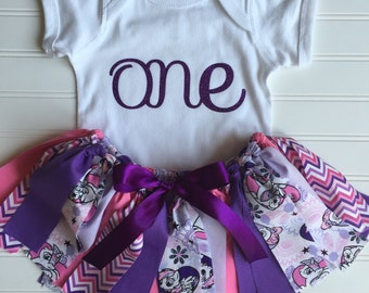 Little Pony Outfit - Little Pony Birthday Outfit - Little Pony Birthday - Birthday Outfit - My Little Pony Tutu - Birthday Fabric Tutu -