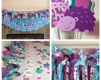 Woodland Baby Shower Decorations - Woodland Party Decorations- Custom Girl Party - One Party - Hedgehog Party - First Birthday Party
