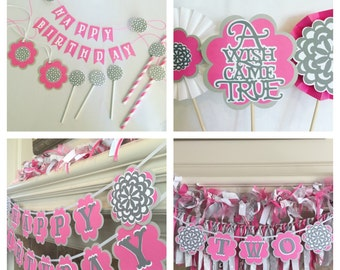 First Birthday Decorations - Pink Party Birthday Decorations - Pink Party Decorations- Pretty in Pink Party - 1st Party Decor