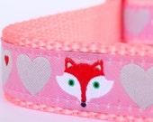 Fox and Hearts Dog Collar, Pink, Adjustable Pet Collar, Forest Friends Pet Collar, Girl Dog Collar