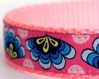 Fans on Pink Dog Collar, Ribbon Adjustable Dog Collar, Colorful Dog Collar, Boho chic