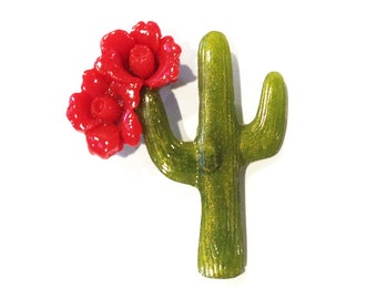Saguaro Blooming Cactus Brooch - Red and Olive