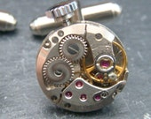 Round Industrial Watch Movement Cufflinks with genuine SWISS made watch movements