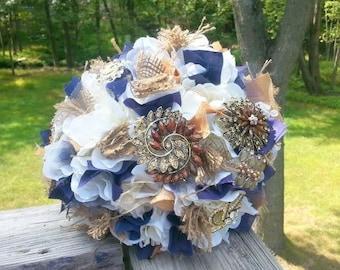 "Ready to Ship! Blue and Gold Rustic Brooch Bouquet - Medium (8"" wide) - Wedding Bouquet - Bridal Bouquet - Broach Bouquet - Deposit"
