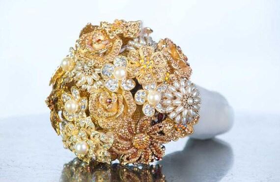 Brooch Bouquet - Custom Bouquet - Crystal Bouquet - Bridal Bouquet - Wedding bouquet - Gold Wedding Bouquet - Bling Wedding - Deposit