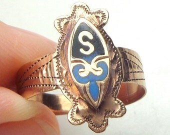 Size 9, Antique Edwardian Style, 9K Rose Gold Ring, Old English, Ladies Signent Ring, Initial S, Black and Blue Enameling