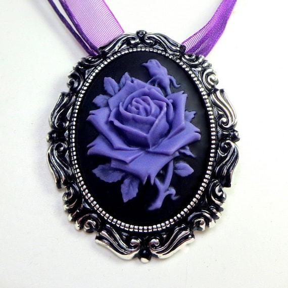 Custom Cameo Resin Pins Diy: Cameo Brooch/Pendent Lavender Rose And Onyx Black Resin